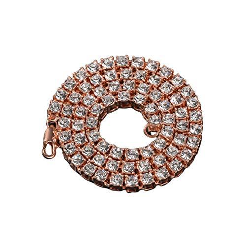 Epinki Breite 5.5MM Halskette Kupfer Herren Venezianierkette mit Cubic Zirconia, Freundschaftsketten Hip Hop Herrenkette Rose Gold 36 Zoll