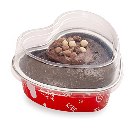 Premium 3.4-OZ Baking Cups with Lids - Heart Shape Foil Baking Cups & Lids Perfect for Fancy Desserts or Mini Snacks - Happy Hour Design Cup with Clear Lid - Oven & Freezer Safe - Recyclable - 100-CT