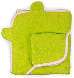 Cute New York Pure Cotton Baby Hooded Towel and Washcloth Set (Green/Pink)