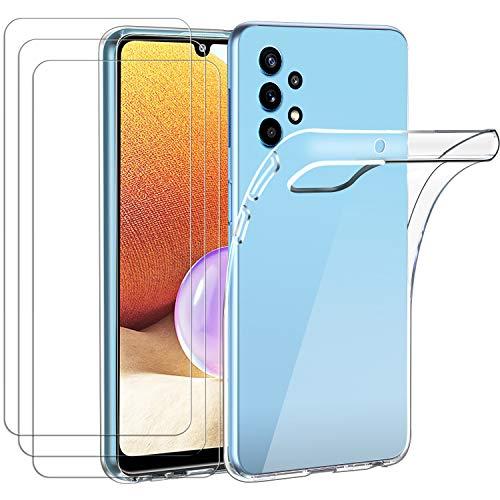 ivoler Hülle für Samsung Galaxy A32 4G, mit 3 Stück Panzerglas Schutzfolie, Dünne Weiche TPU Silikon Transparent Stoßfest Schutzhülle Durchsichtige Handyhülle Kratzfest Hülle
