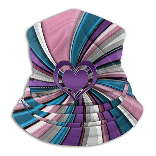 Pañuelo de cuello con diseño de corazones, color rosa y morado