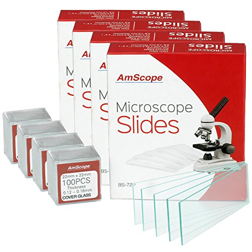 AmScope BS-72P-100S-22X4-CB 288 Pieces of Pre-Cleaned Blank Microscope Slides and 400 Pieces of 22x22mm Square Coverslips Cover Glass