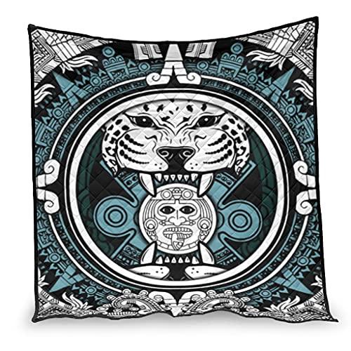 Dessionop Jaguar Guerrero étnico impresión Totem aire acondicionado ligero para sofá cama blanco 100 x 150 cm