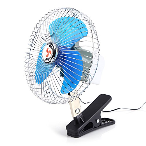 Lazmin Tragbarer Ventilator für Auto, 12V Mini 180-Grad-Drehung Auto-Fahrzeug-Clip-On-Kühlung Oszillierender Ventilator für Auto-LKW-Armaturenbrett