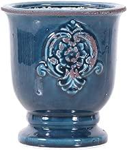 Little Green House Ceramic Dark Blue Round Vase - Small