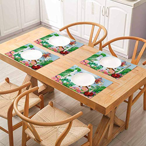 3D Waterproof Non-Slip Placemats Table Mats, Garden Gardening Theme Illustration of Butterfly Ladybug Worm Flowers and Gr, Easy to Clean Premium Table Mats for Dining Table, Set of 4