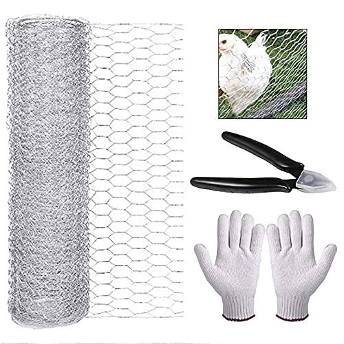 Frunimall, rete metallica di pollo leggera, filo esagonale da giardino galvanizzato con mini pinze per tagliare i fili + guanti per progetti artigianali giardinaggio decorazioni casa (400 mm × 5 m)
