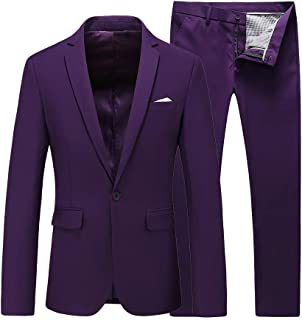 5a8bf44d4847 UNINUKOO Mens Slim Fit 2 Piece Single Breasted Jacket Party Prom Tuxedo  Suits