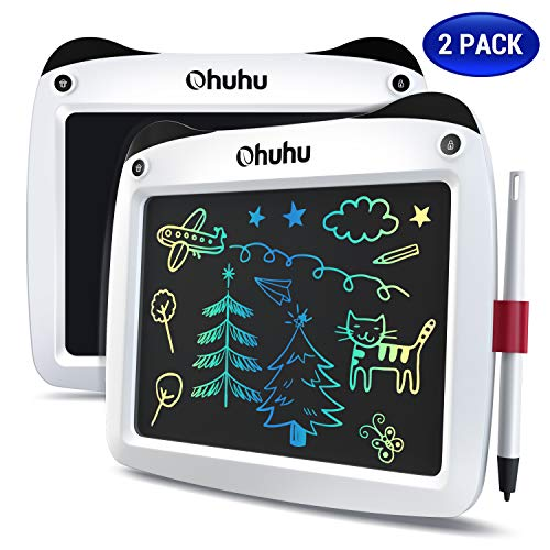 LCD Writing Tablet Colorful Screen, Ohuhu 2 Pack 9' Electronic Drawing Doodle Board, LCD Digital Handwriting Pad Gifts for Kids Children at Home and School, Scribble and Play Learning Boards Ages 3+