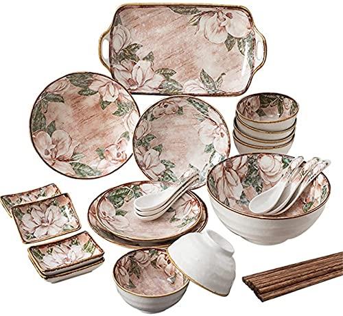 Juego de Platos, 20 PCS Conjuntos de vajilla, vajilla de porcelana Conjunto con platos Cuencos y platos, Patrón floral Cena de cerámica Conjunto de cocina para casas y comedor, Microondas Lavavajillas