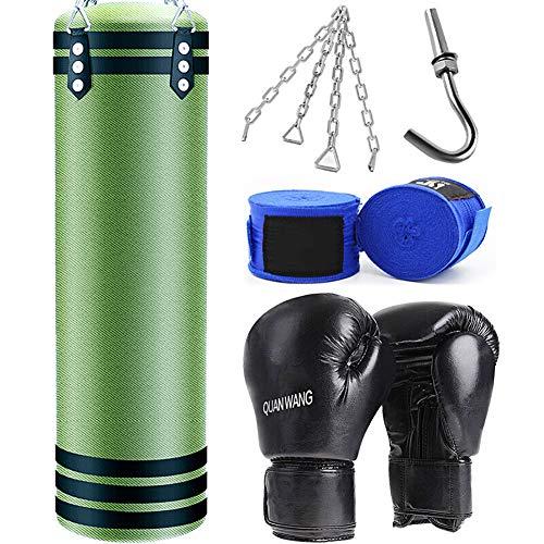 QinnLiuu Boxsack-Boxset Gefüllte Schwere Boxsack- / Kick-Tasche + Kette + Handschuhe + Handwickel + Metallhaken, Für Kickbox-Training, Kampfsport Usw,150CM