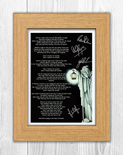 Póster de Led Zeppelin con letras Stairway to Heaven (3) reproducción de autógrafo de foto A4 (marco de roble)