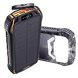 Batterie Externe Solaire 26800mAh IPX6 Chargeur Solaire 3 Ports 3.1A(USB/Type-C) 3 Entrées(USB/Type-C/Panneaux Solaire) LED & Corde Suspendue, Power Bank Solaire pour iPhone Samsung Huawei, etc