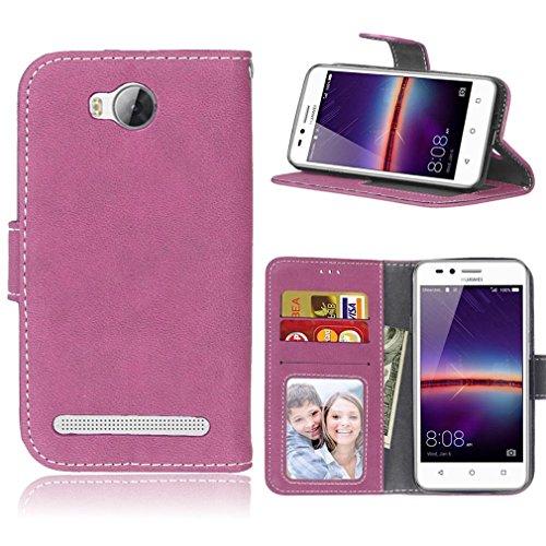 LMAZWUFULM Hülle für Huawei LUA-L21 / Y3 II 4,5 Zoll PU Leder Magnet Brieftasche Lederhülle Gefrostet Design Standfunktion Ledertasche Flip Cover für Huawei LUA-L21 / Y3 II (4,5 Zoll) Rose