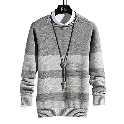 Suéter Ajustado para Hombre, Jersey de Moda con Bloqueo de Color, Jacquard a Rayas, Tejido Fino, Jersey de Manga Larga Informal Simple Medium