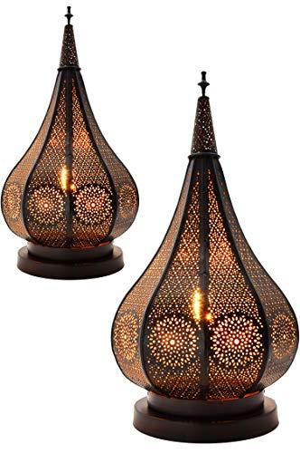2er Set Orientalische kleine Tischlampe Lampe Kais 38cm Schwarz E14 | Marokkanische Tischlampen klein aus Metall, Lampenschirm | Nachttischlampe modern, für Vintage, Retro & Landhaus Stil Design