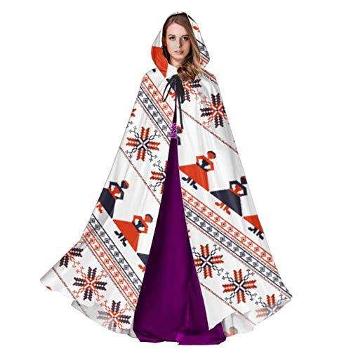 Seamless Traditional Romanian Pattern Ladies Cloak Cape Mens Hooded Cloak 59inch for Christmas Halloween Cosplay Costumes