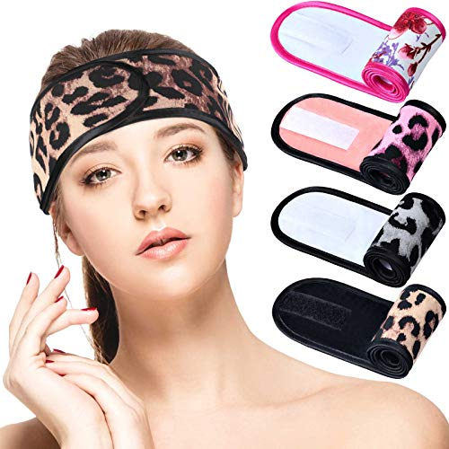 4 Pieces Spa Facial Headband for Women Makeup Hair Band Wrap Soft Women Towel Hair Band Wrap Stretch Terry Cloth Head Wrap with Adjustable Adhesive Tape for Bath, Makeup, Washing Face, Yoga, Skincare