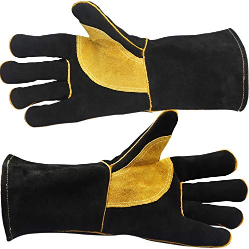 Welding Gloves Extreme Heat/Fire Resistant Gloves Leather with Kevlar Stitching Heat Fire Resistant Welders Glove for Welding/Oven/Grill/BBQ/Mig/Fireplace/Stove/Pot Holder/Tig Welder/16 inches
