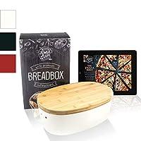dolce mare® portapane in bambù - cassetta per pane con coperchio in bambù - portapane pratico - cestino per il pane in legno - contenitore per pane (bianco crema)