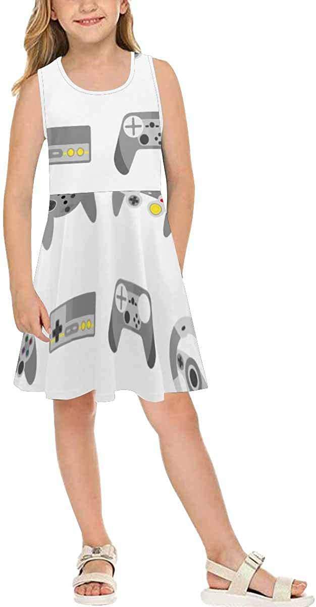 INTERESTPRINT Girls Sleeveless Summer Casual Dresses for School Party Beach Dresses Different Game Controllers XL