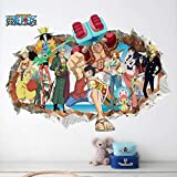 Peel and Stick Vinyl Stickers,3D Fake Window One Piece Wall Stickers for Boys Room Removable Japanese Anime Wall Decals Home Decor-50CMx70CM
