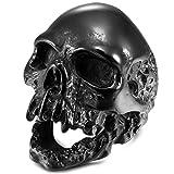 MunkiMix Acero Inoxidable Anillo Ring Negro Cráneo Calavera Talla Tamaño 25 Hombre