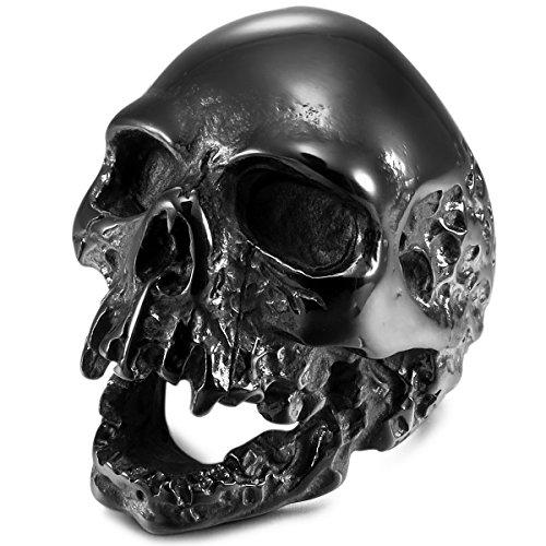 MunkiMix Acero Inoxidable Anillo Ring Negro Cráneo Calavera Talla Tamaño 22 Hombre