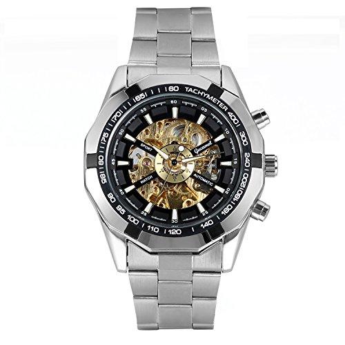 Avaner Grande Reloj de Hombre Mecánico Automático Hueco Esqueleto Reloj de Pulsera de Acero Inoxidable Oro Dorado Plateado Estilo Casual, Regalo Original para Hombres
