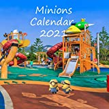 Minions calendar 2021: Minions wall calendar 2021 with glossy cover and galaxy background: 8.5x8.5 in |gift christmas |calendar 2021| minions characters