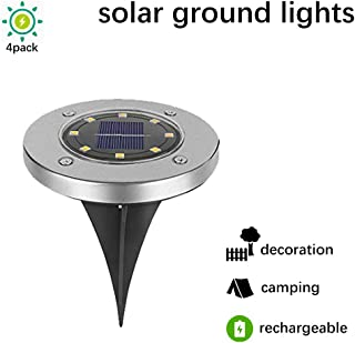 MIXBIRLY Solar Garden Lights Outdoor Green Power Ground Illumination Landscaping Decoration for Pathway Driveways Patio Lawn and Yard Warm White 4 Pack