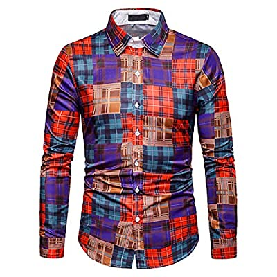 ZHPUAT Men's Shirt Plaid Flannel Casual Button Down Slim Fit Long Sleeve Shirt