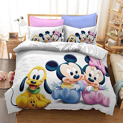 SK-YBB Niño Juego De Funda De Edredón De Minnie Y Mickey Mouse Funda Nórdica Y Funda De Almohada De Microfibra (B6,220 x 240 cm-Cama 150cm)