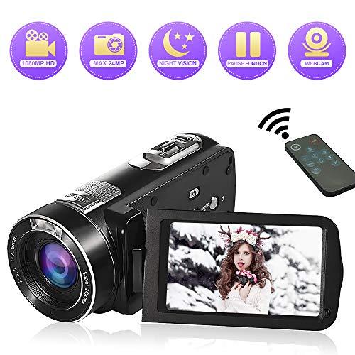 Videokamera Camcorder Full HD 1080P 24MP Video Camcorder 18 facher Digitalzoom Nachtsicht-Pausenfunktion mit 3,0 Zoll LCD und 270 Grad Drehbildschirm mit Fernbedienung