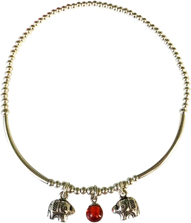KUNQ Fashion Bracelet 925 Pure Silver Pearl Beads Female Retro Pure Silver Elephants Lucky Transshipment Gift Giving Away Evil Spirits