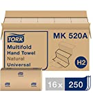 Tork Multifold Hand Towel, Natural, H2, Universal, 3-Panel, 100% Recycled Fibers, 1-Ply, 16 x 250 Sheets - MK520A
