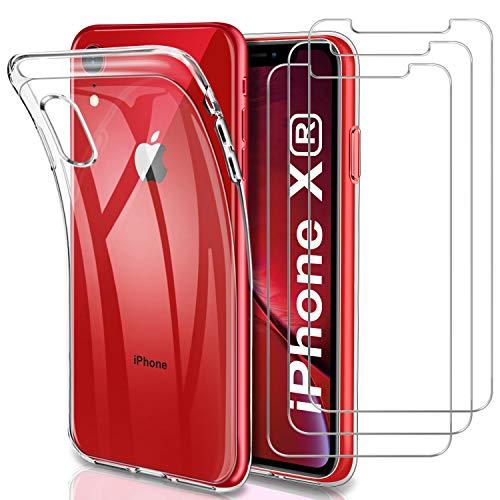 YNMEacc Coque pour iPhone XR, Silicone Transparente Case Souple Étui Protection Bumper Housse avec [Lot de 3] Verre trempé écran Protecteur pour iPhone XR