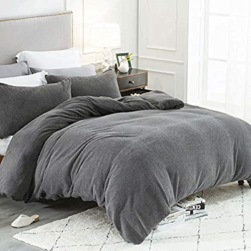 Bedsure Fleece Duvet Cover Double - Teddy Fleece Bedding 3 pcs with Zipper Closure, Dark Grey, 200x200cm