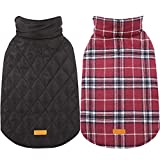 Kuoser Cozy Waterproof Windproof Reversible British Style Plaid Dog Vest Winter Coat Warm Dog Apparel Cold Weather Dog Jacket Small Medium Large Dogs Furry Collar (XXS - 4XL),Red XS