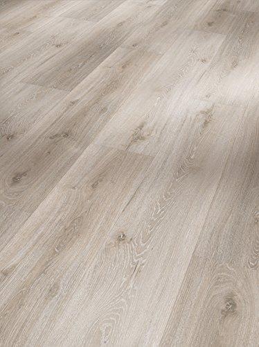 Parador Klick Vinyl Bodenbelag Classic 2050 Eiche Royal weiß gekälkt Landhausdiele Gebürstete Struktur 2,118m², hochwertige Holzoptik hell grau 5mm, einfache Verlegung