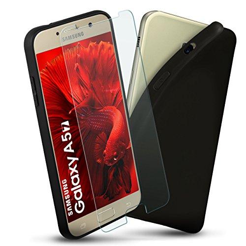 Samsung Galaxy A5 (2017) - Carcasa de silicona y protector de pantalla [360 grados Full-Screen Set] Cristal protector con Back-Cover negro funda de móvil fina cristal blindado Samsung Galaxy A5 2017