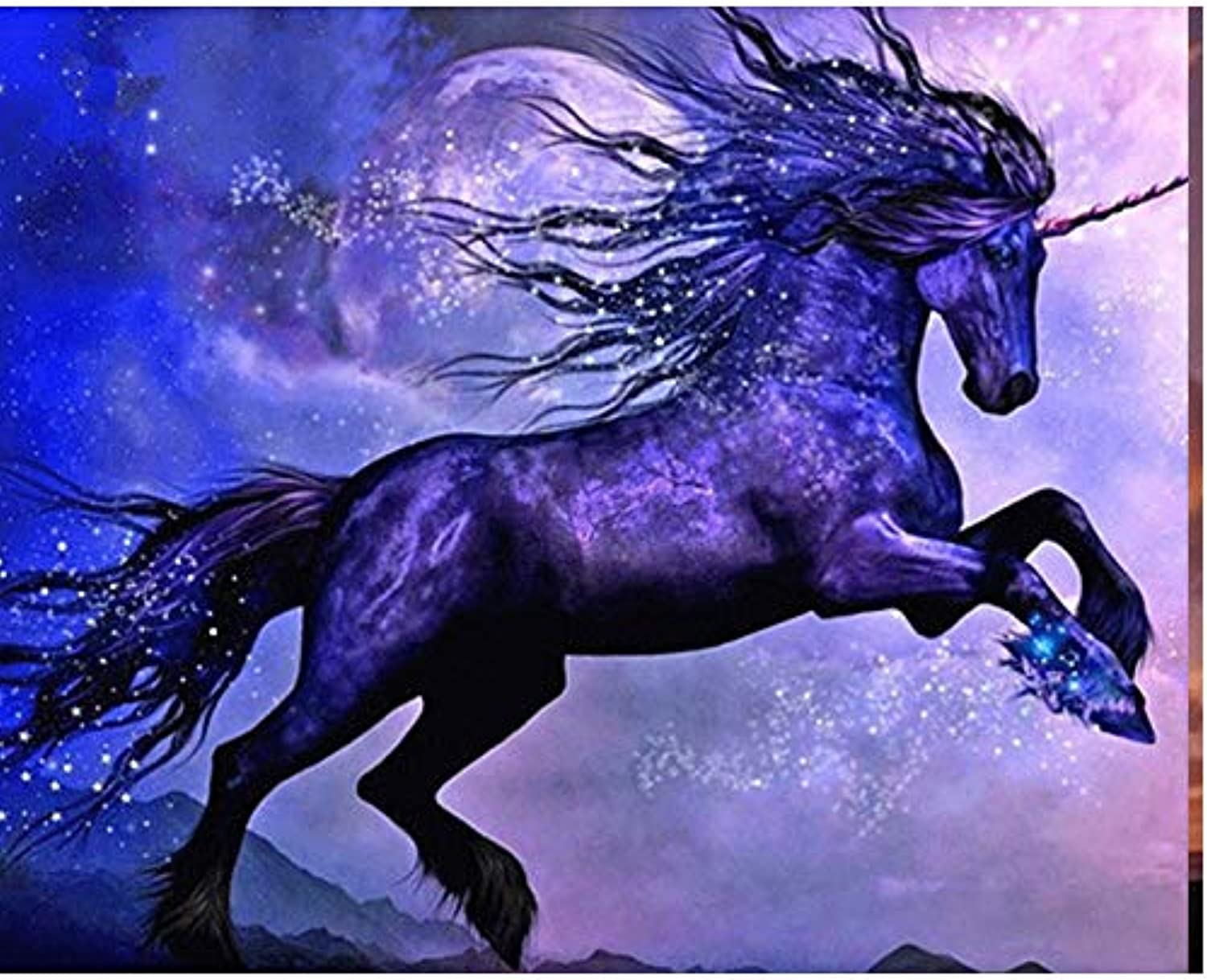 DIY Oil Paint by Number Kit for Adults Beginner 16x20 Inch - Moonlit Unicorn,Drawing with Brushes Living Room Decor Decorations Gifts (Framed)