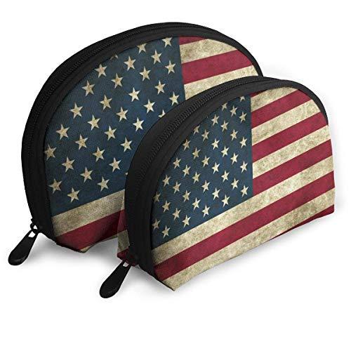 Vintage American Flag Pouch Zipper Toiletry Organizer Travel Makeup Clutch Bag Portable Bags Clutch Pouch Storage Bags