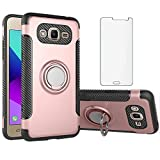 Phone Case for Samsung Galaxy Grand Prime J2 Prime with Tempered Glass Screen Protector Cover and Magnetic Stand Ring Holder Slim Hybrid Hard Cell Accessories Glaxay Plus Cases Rose Gold Rubber Rugged