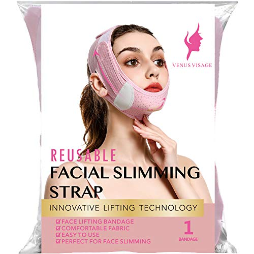 Facial Slimming Strap, Pain-Free Face Lifting Belt, Double Chin Reducer, V Line Lifting Chin Strap for Women Men Eliminates Sagging Skin Lifting Firming Anti Aging (pink)