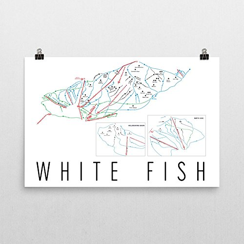 Whitefish Poster, Whitefish Ski Resort Poster, Whitefish Art Print, Whitefish Trail Map, Whitefish Trail Map Art, Whitefish Wall Art Poster, Whitefish Montana Gift