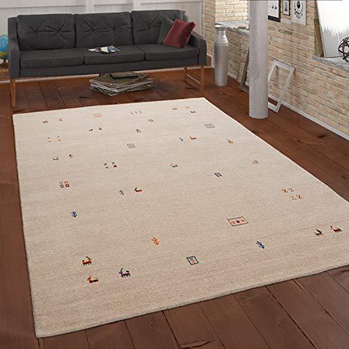 Paco Home Teppich Creme Beige Bunt Wolle Handgewebt Gabbeh Qualität Ethno Style Robust, Grösse:80x150 cm