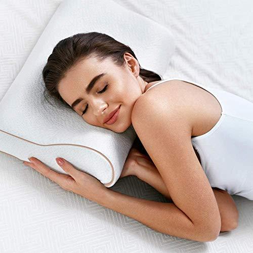BedStory Almohada Viscoelastica, Almohada Ortopédica para Reducir Dolores Cervicales, Almohada Cervical Ergonómico con Gel Disipador de Calor, Funda Extraíble y Lavable. Hipoalergenico y Antiácaros