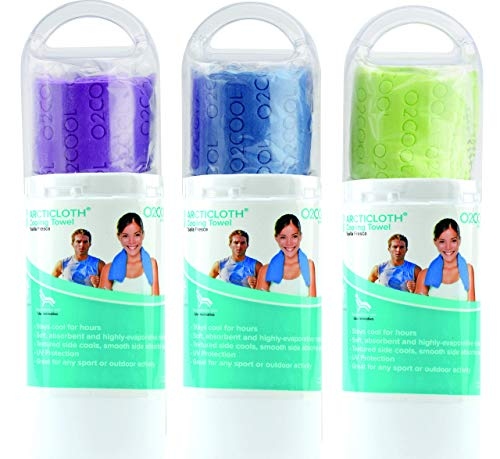 O2COOL Cooling Towel 3 Pack, 33x13 Large Size, Machine Washable