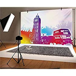 London 8x6 FT Vinyl Photography Background Backdrops,Historical Big Ben and Bus Great Bell Clock Tower UK Europe Street Landmark Background for Photo Backdrop Studio Props Photo Backdrop Wall